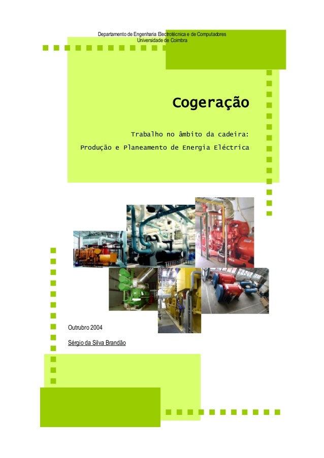Departamento de Engenharia Electrotécnica e de Computadores  Universidade de Coimbra  Cogeração  Trabalho no âmbito da cad...