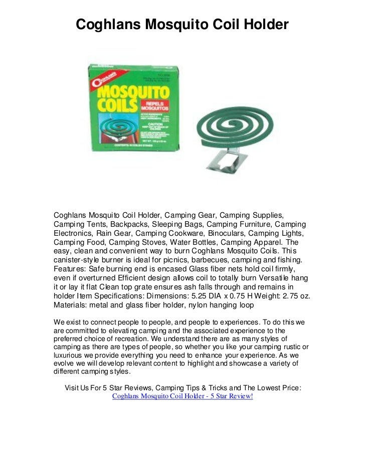Coghlans Mosquito Coil Holder     Coghlans Mosquito Coil Holder, Camping Gear, Camping Supplies, Camping Tents, Backpacks,...