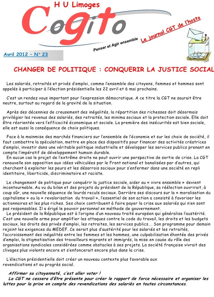 Cogito                          H U LimogesAvril 2012 – N° 23     CHANGER DE POLITIQUE : CONQUERIR LA JUSTICE SOCIAL  Les ...