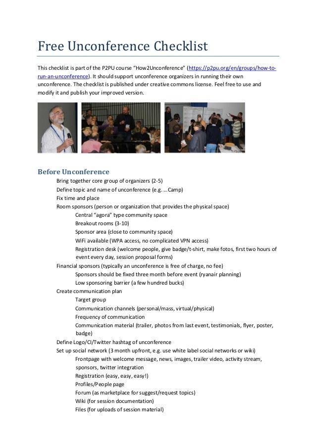 """Free Unconference ChecklistThis checklist is part of the P2PU course """"How2Unconference"""" (https://p2pu.org/en/groups/how-to..."""