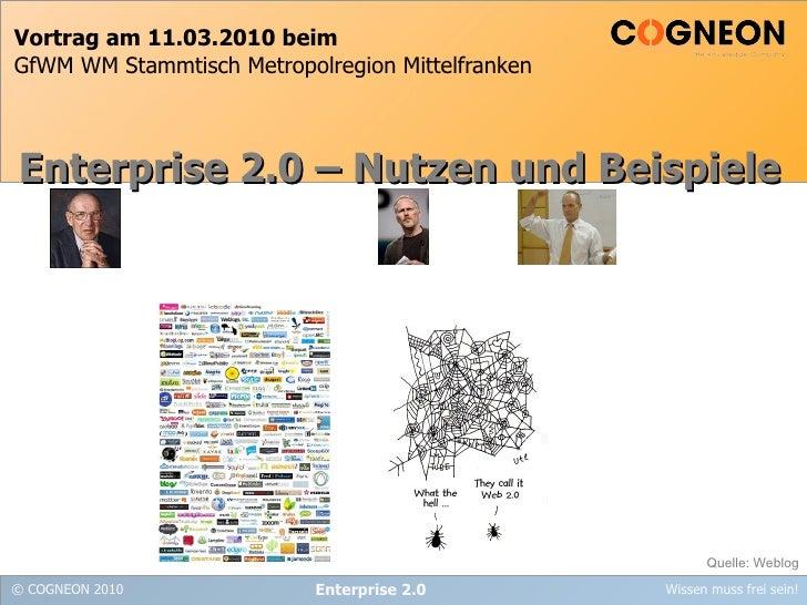 Vortrag am 11.03.2010 beim GfWM WM Stammtisch Metropolregion Mittelfranken Enterprise 2.0 Enterprise 2.0 – Nutzen und Beis...