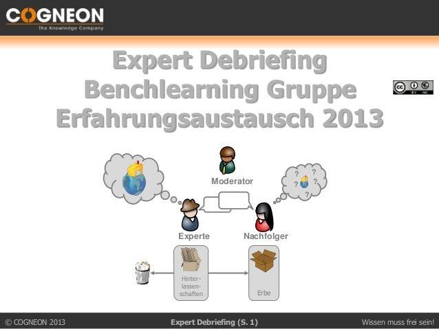 Expert Debriefing             Benchlearning Gruppe           Erfahrungsaustausch 2013                                     ...