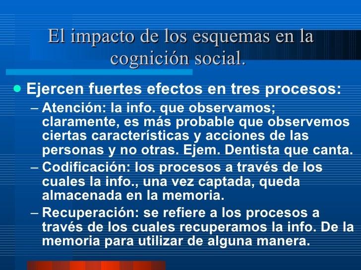 El impacto de los esquemas en la cognición social.  <ul><li>Ejercen fuertes efectos en tres procesos:  </li></ul><ul><ul><...