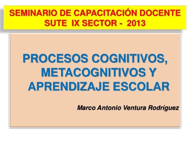 SEMINARIO DE CAPACITACIÓN DOCENTE SUTE IX SECTOR - 2013  PROCESOS COGNITIVOS, METACOGNITIVOS Y APRENDIZAJE ESCOLAR Marco A...
