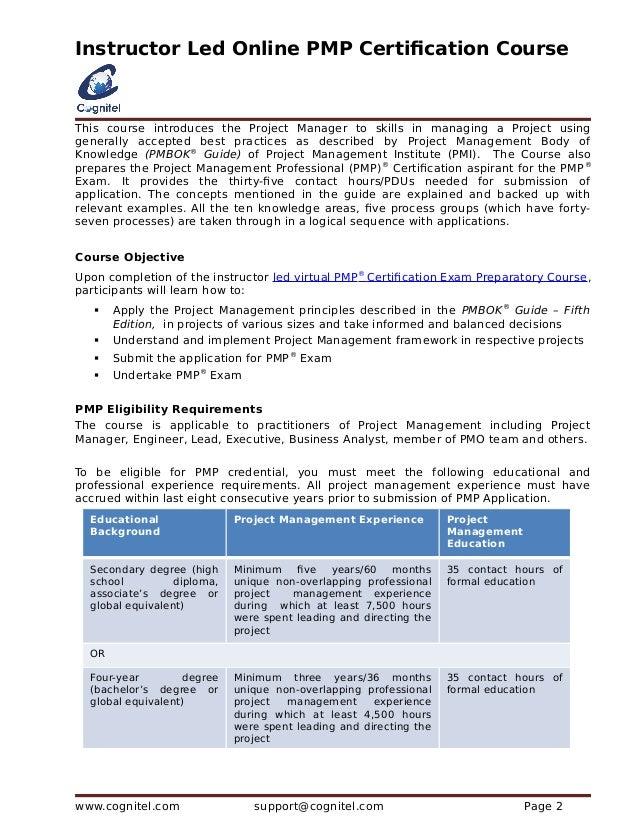Cognitel Release Instructor Led Online Pmp Certification Course