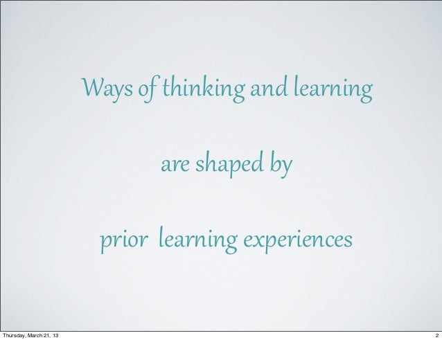 Cognition, Learning, and Formal Education Slide 2