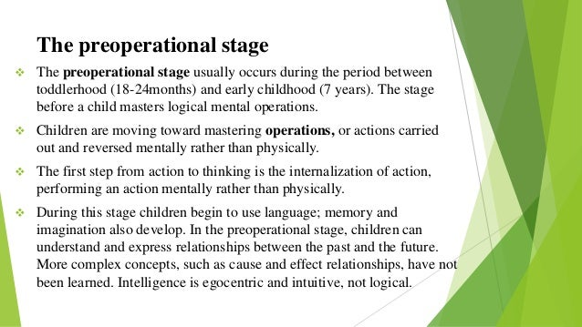 pre operational stage of piagets cognitive development Piaget's stages of cognitive development the following information is based on the work of jean piaget,  known as the pre-operational stage.