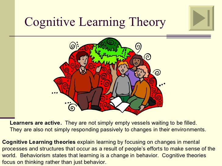 Cognitive Learning Theory   Learners are active. They are not simply empty vessels waiting to be filled.   They are also n...