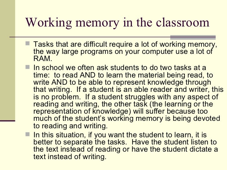 blocking rehearsal time with an interference task essay Working memory chapter 4 2 blocking of rehearsal to measure the duration of order, and also gave them spatial reasoning task to.