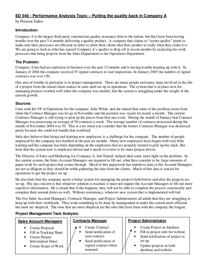 ED 540 - Performance Analysis Topic – Putting the quality back in Company Aby Preston GalesIntroduction:Company A is the l...