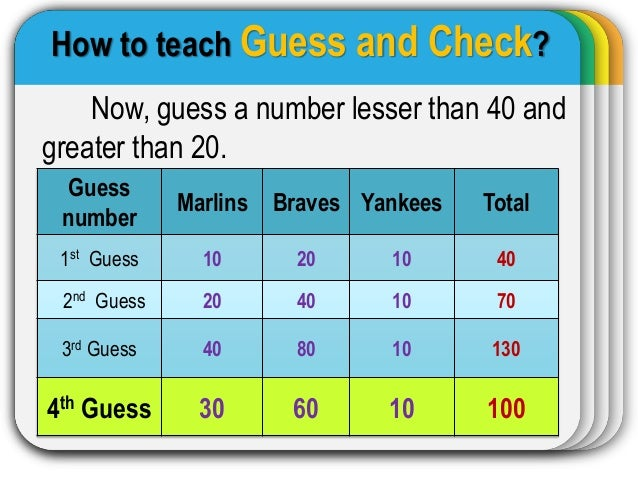 6th grade: guess and check method youtube.