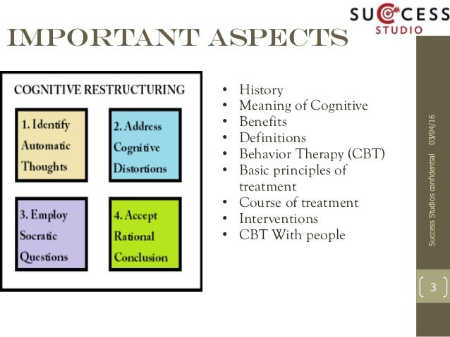 a look at the clinical application of cognitive behavioral therapy Cognitive behavioral therapy (cbt) is a short-term, goal-oriented psychotherapy treatment that takes a hands-on, practical approach to problem-solving its goal is to change patterns of thinking .