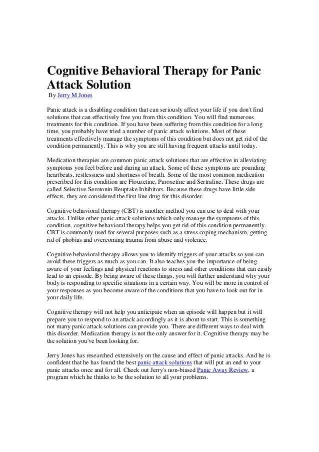 cbt for panic attacks documents needed