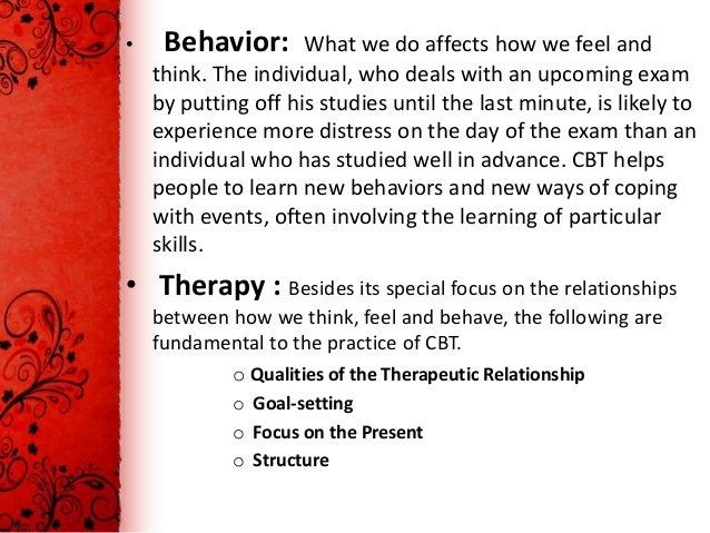 cognitive behavior therapy for people with 392 behavior modification 39(3) this case beck and clark's (1997) generic cognitive model of anxiety the beck and clark model emphasizes the concepts relevant to a.