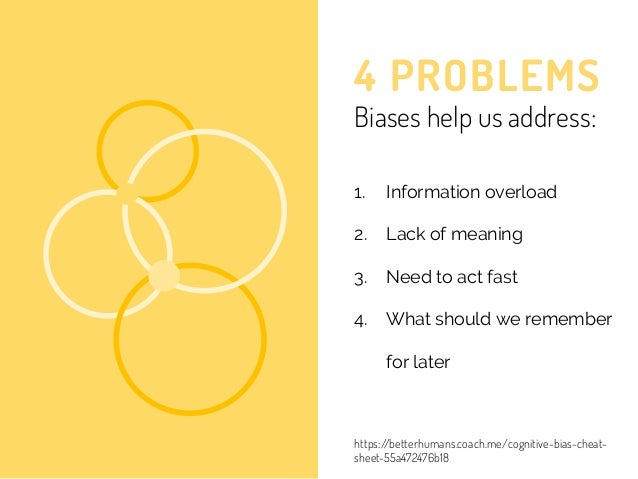4 PROBLEMS Biases help us address: 1. Information overload 2. Lack of meaning 3. Need to act fast 4. What should we rememb...
