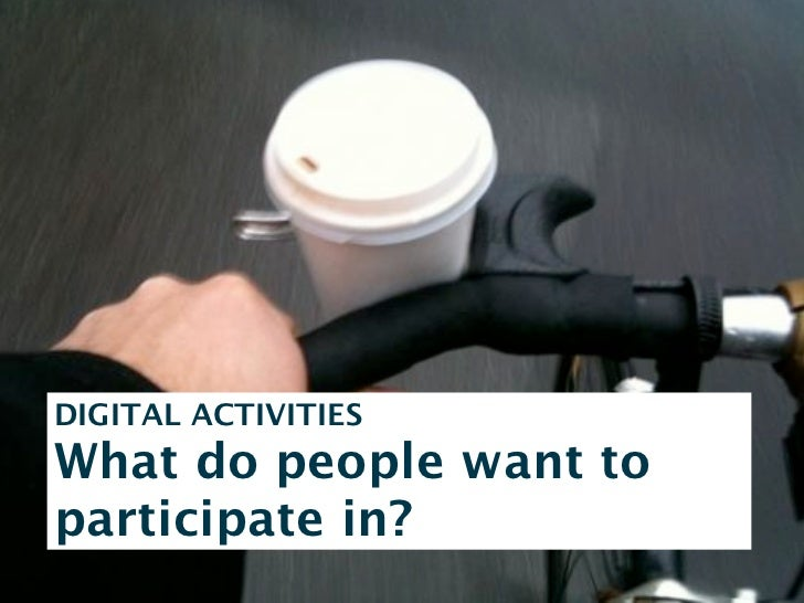WHAT DO YOU WANT ME TO PARTICIPATE IN?- Make Copenhagen a bicycle city?- Create a positive bicycle culture inCopenhagen?- ...