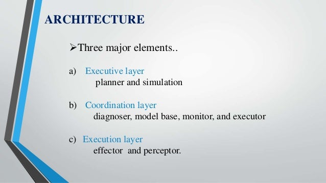 ARCHITECTURE Three major elements.. a) Executive layer planner and simulation b) Coordination layer diagnoser, model base...
