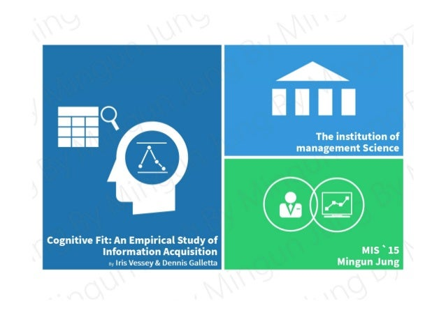 The institution of management Science Cognitive Fit: An Empirical Study of Information Acquisition By Iris Vessey & Dennis...