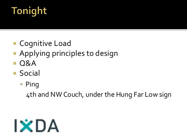  Cognitive Load  Applying principles to design  Q&A  Social  Ping 4th and NW Couch, under the Hung Far Low sign