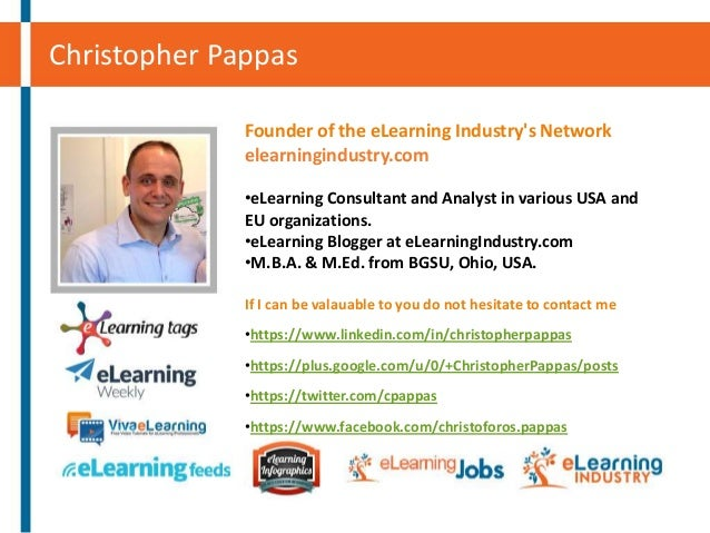 Christopher Pappas Founder of the eLearning Industry's Network elearningindustry.com •eLearning Consultant and Analyst in ...