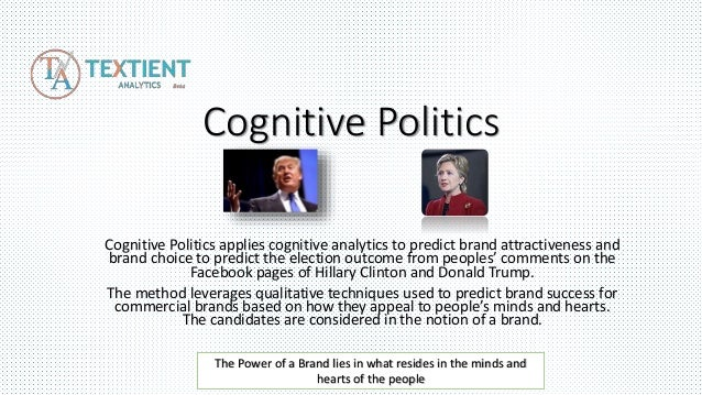 Cognitive Politics Cognitive Politics applies cognitive analytics to predict brand attractiveness and brand choice to pred...