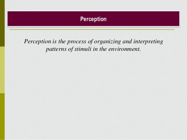 Perception Perception is the process of organizing and interpreting patterns of stimuli in the environment.