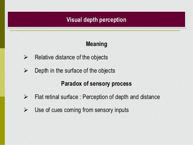 Visual depth perception Meaning  Relative distance of the objects  Depth in the surface of the objects Paradox of sensor...