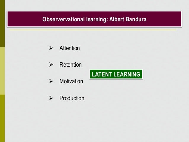 Observervational learning: Albert Bandura  Attention  Retention  Motivation  Production LATENT LEARNING