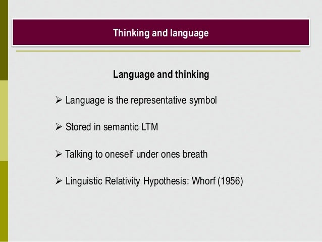 Thinking and language Language and thinking  Language is the representative symbol  Stored in semantic LTM  Talking to ...