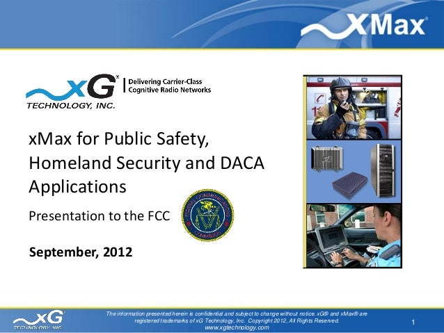 Cognitive Radio for Public Safety Applications September 2012