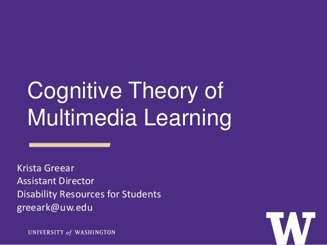 Krista Greear Assistant Director Disability Resources for Students greeark@uw.edu Cognitive Theory of Multimedia Learning