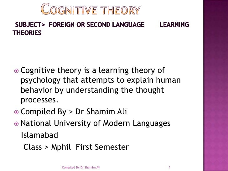 COGNITIVE THEORY Subject>  Foreign or Second Language        Learning Theories<br />Cognitive theory is a learning t...