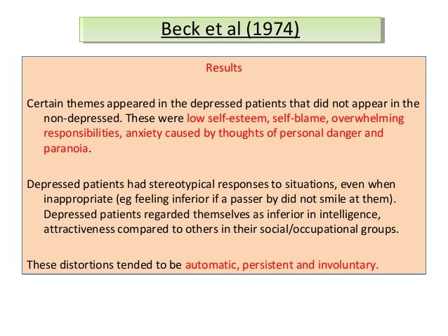 cognitive causal model of depression Psychiatry, 3, 73–85], which outlined a number of testable models based on beck's cognitive theory of depression specifically, the current study tested the following four competing models: the causal, consequential, fully and partially interactive cognitive models in patients with major depressive disorder.