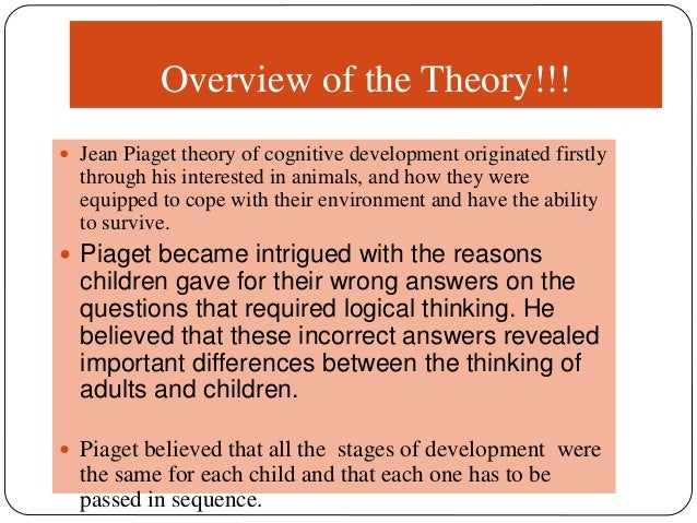 an introduction to the analysis of piagets theory of cognitive development 2018-08-17  jean piaget's theory of cognitive development  (1936) theory of cognitive development explains how a child constructs a mental  introduction schemas assimilation & accommodation stages of development educational.