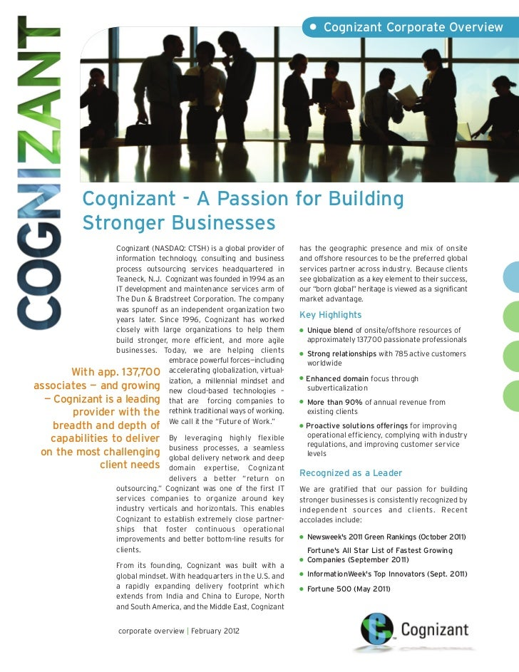 • Cognizant Corporate Overview             Cognizant - A Passion for Building             Stronger Businesses             ...