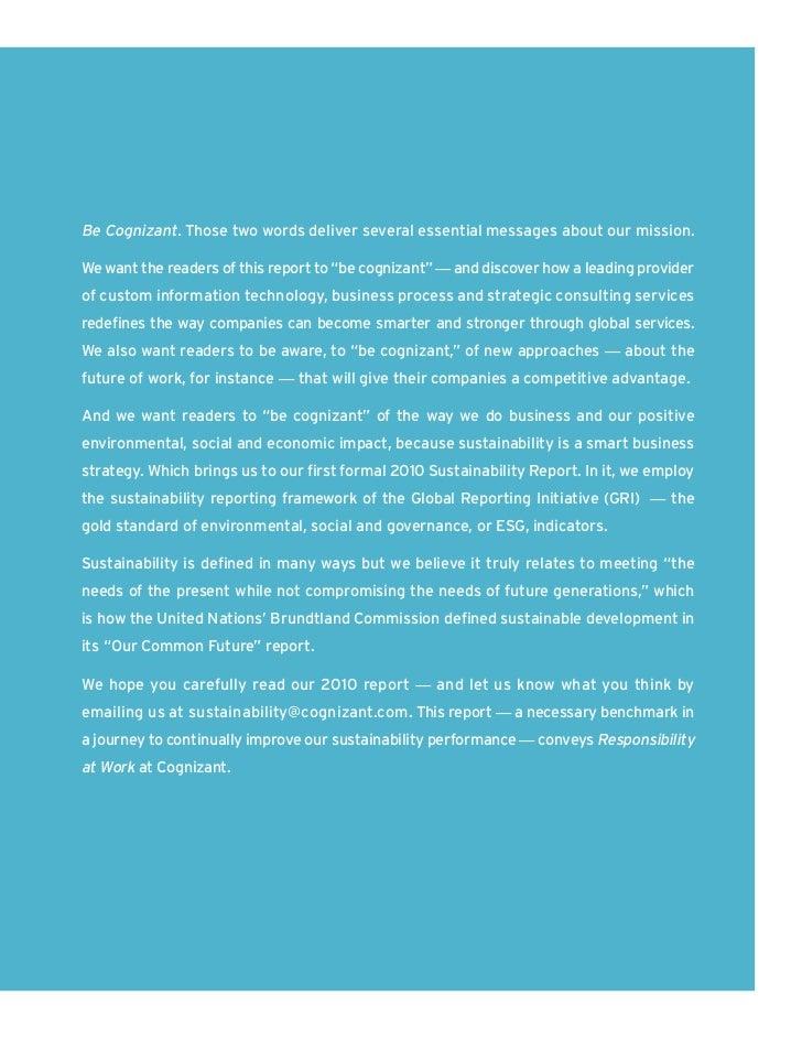 Cognizant Sustainability Report Slide 3