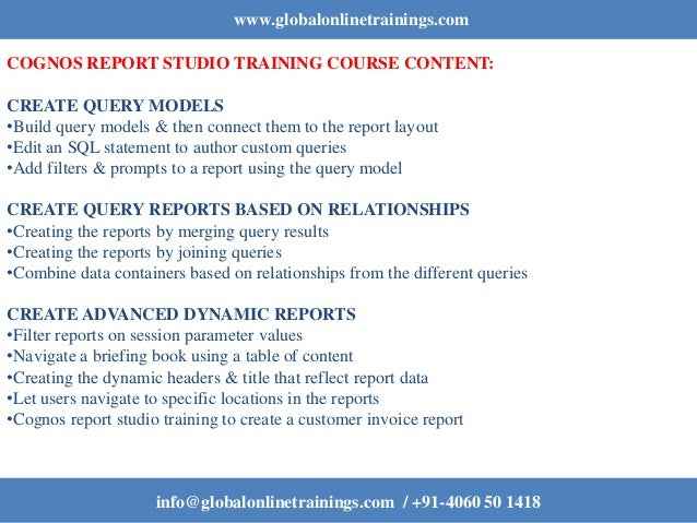 IBM Cognos Report Studio Authoring Professional Reports Fundamentals (v12)