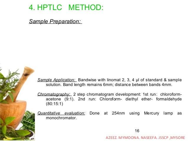 16 4. HPTLC METHOD: Sample Preparation: Sample Application: Bandwise with linomat 2, 3, 4 μl of standard & sample solution...