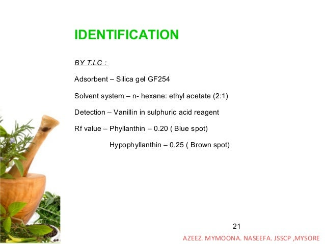 21 IDENTIFICATION BY T.LC : Adsorbent – Silica gel GF254 Solvent system – n- hexane: ethyl acetate (2:1) Detection – Vanil...