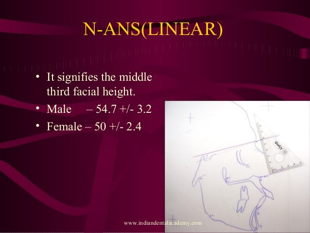 N-ANS(LINEAR) • It signifies the middle third facial height. • Male – 54.7 +/- 3.2 • Female – 50 +/- 2.4 www.indiandentala...