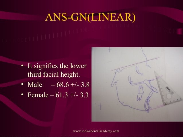 ANS-GN(LINEAR) • It signifies the lower third facial height. • Male – 68.6 +/- 3.8 • Female – 61.3 +/- 3.3 www.indiandenta...