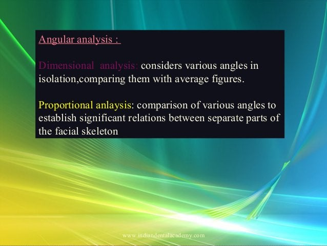 Angular analysis : Dimensional analysis: considers various angles in isolation,comparing them with average figures. Propor...
