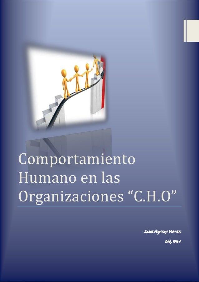 """Comportamiento Humano en las Organizaciones """"C.H.O"""" Lizet Aguayo Manta Cód. 13164"""