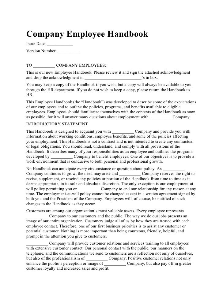 Company Employee Handbook Issue Date: ____________ Version Number: __________   TO __________ COMPANY EMPLOYEES: This is o...
