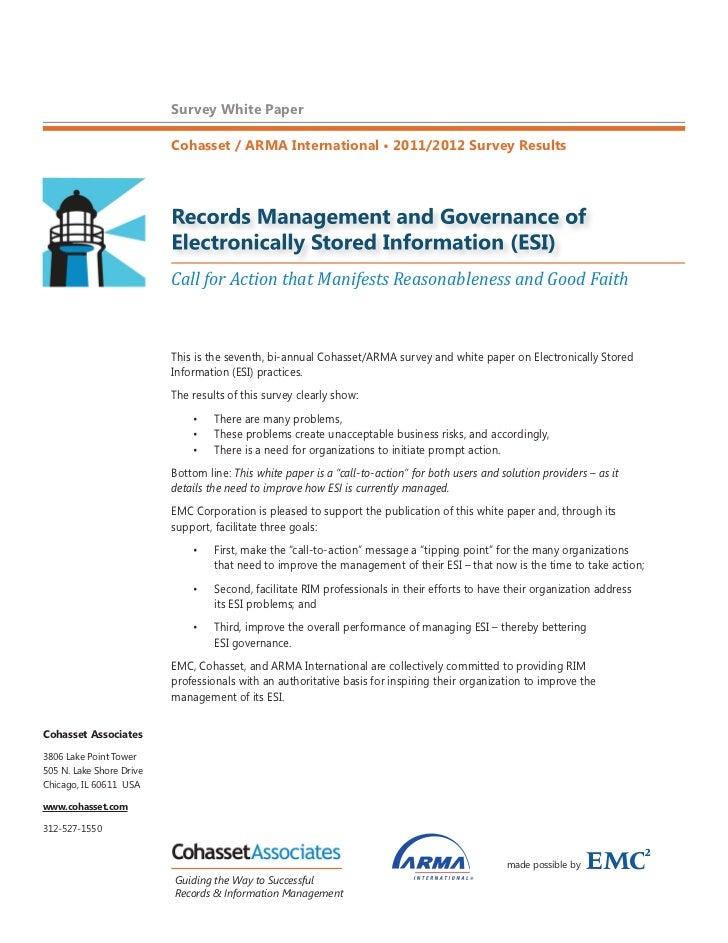 Survey White Paper                          Cohasset / ARMA International • 2011/2012 Survey Results                      ...