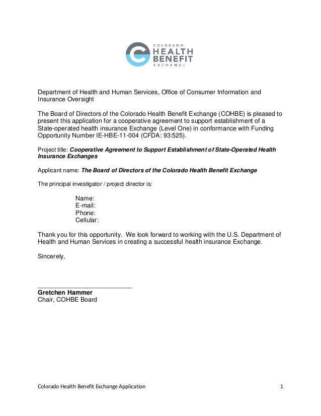 Colorado Health Benefit Exchange Application 1  Department of Health and Human Services, Office of Consumer Information an...