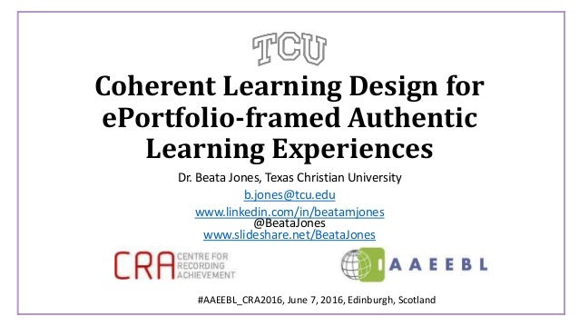 Coherent Learning Design for ePortfolio-framed Authentic Learning Experiences Dr. Beata Jones, Texas Christian University ...
