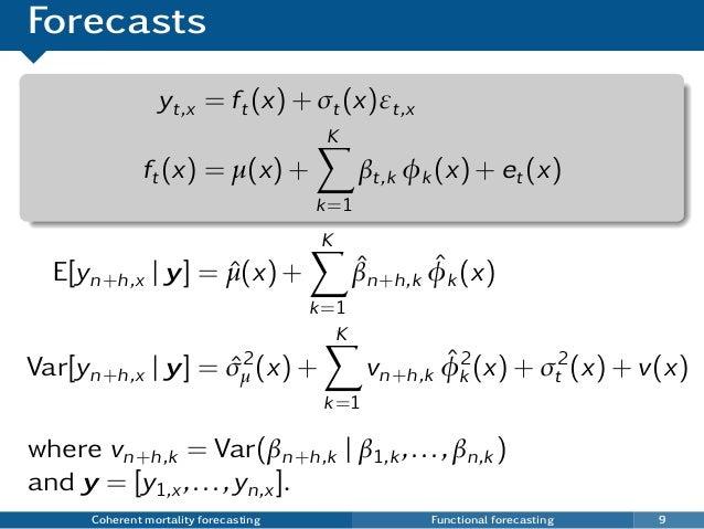 Forecasts yt,x = ft(x) + σt(x)εt,x ft(x) = µ(x) + K k=1 βt,k φk (x) + et(x) where vn+h,k = Var(βn+h,k | β1,k ,...,βn,k ) a...