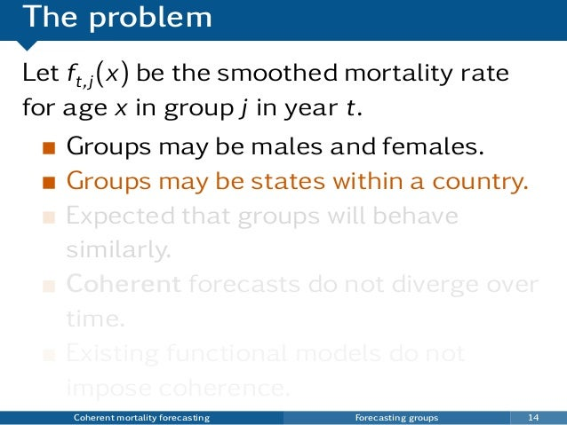 The problem Let ft,j(x) be the smoothed mortality rate for age x in group j in year t. Groups may be males and females. Gr...