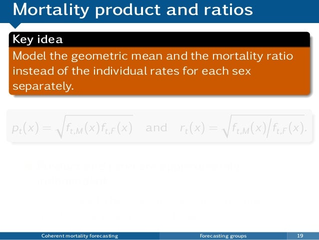 Mortality product and ratios Key idea Model the geometric mean and the mortality ratio instead of the individual rates for...